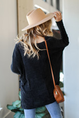Oversized Fuzzy Knit Top in Black Back View