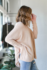Oversized Fuzzy Knit Top in Taupe Side View