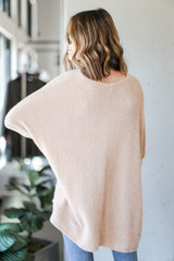 Oversized Fuzzy Knit Top in Taupe Back View