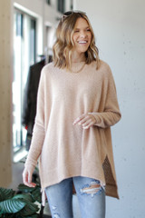 Taupe - Model wearing an Oversized Fuzzy Knit Top with jeans