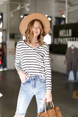 Model wearing an Oversized Striped Top