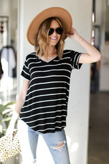Black - Striped Tee from Dress Up