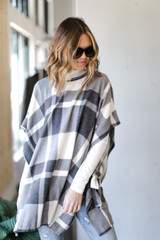 Charcoal - Oversized Plaid Poncho from Dress Up