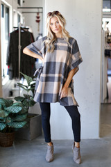 Taupe - Model wearing an Oversized Plaid Poncho