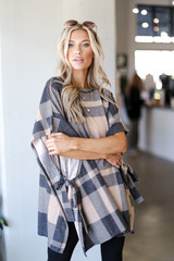 Taupe - Dress Up model wearing an Oversized Plaid Poncho