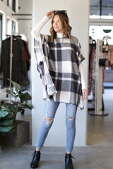 Oversized Plaid Poncho in Charcoal Front View