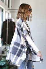 Oversized Plaid Poncho in Charcoal Side View