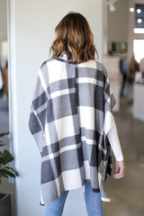Oversized Plaid Poncho in Charcoal Back View
