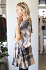Oversized Plaid Poncho in Taupe Side View