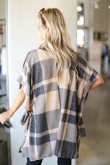 Oversized Plaid Poncho in Taupe Back View