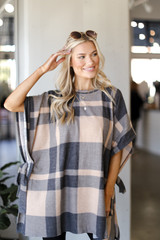 Oversized Plaid Poncho in Taupe Front View