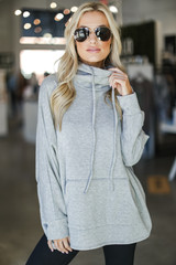 Oversized Cowl Neck Pullover in Heather Grey Front View