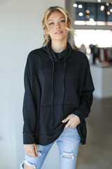 Black - Dress Up model wearing an Oversized Cowl Neck Pullover with jeans