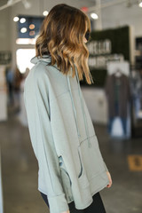 Oversized Cowl Neck Pullover in Sage Side View