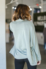 Oversized Cowl Neck Pullover in Sage Back View