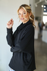 Oversized Cowl Neck Pullover in Black Side View
