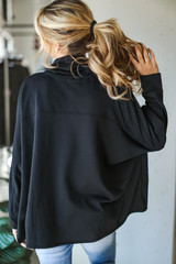 Oversized Cowl Neck Pullover in Black Back View