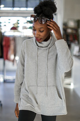 Heather Grey - Dress Up model wearing an Oversized Cowl Neck Pullover
