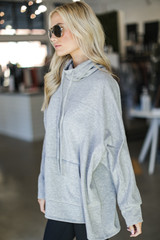 Oversized Cowl Neck Pullover in Heather Grey Side View