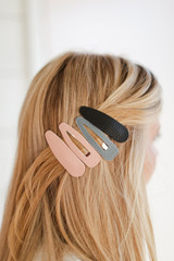 Black - Faux Leather Hair Clip Set from Dress Up
