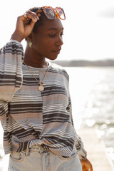 Grey - Striped Waffle Knit Top from Dress Up