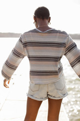 Striped Waffle Knit Top Back View