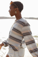 Striped Waffle Knit Top Side View