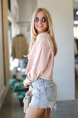 Acid Washed Cropped Tee in Blush Side View