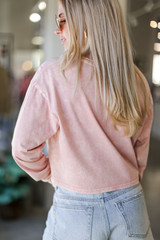 Acid Washed Cropped Tee in Blush Back View