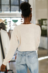 Acid Washed Cropped Tee in Taupe Back View