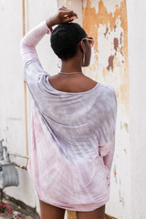 Oversized Tie-Dye Tunic in Pink Back View