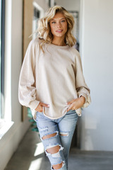 Taupe - Dress Up model wearing an Oversized Pullover