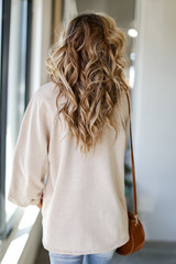 Oversized Pullover in Taupe Back View