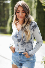 Grey - Ribbed Knit Tie-Dye Crop Top from Dress Up