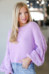 Lavender - Statement Sleeve Cropped Sweater from Dress Up