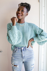 Sage - Dress Up model wearing a Statement Sleeve Cropped Sweater