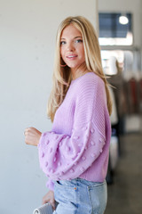 Statement Sleeve Cropped Sweater in Lavender Side View