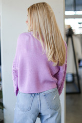 Statement Sleeve Cropped Sweater in Lavender Back View