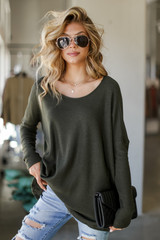 Olive - Oversized Waffle Knit Top from Dress Up
