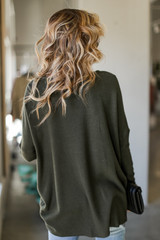 Oversized Waffle Knit Top Back View