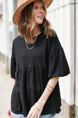 Black - Puff Sleeve Babydoll Top from Dress Up
