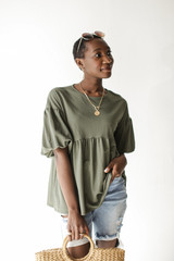 Olive - Model wearing a Puff Sleeve Babydoll Top