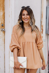 Taupe - Model wearing a Puff Sleeve Babydoll Top with jeans