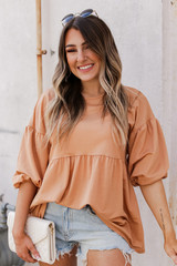 Taupe - Dress Up model wearing a Puff Sleeve Babydoll Top with jeans