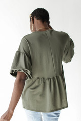Puff Sleeve Babydoll Top in Olive Back View