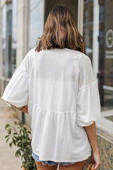 Puff Sleeve Babydoll Top in Ivory Back View