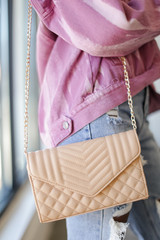 Nude - Quilted Crossbody Bag Front View