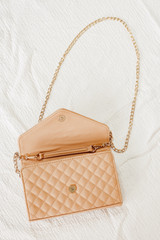 Quilted Crossbody Bag in Nude opened