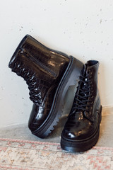 Platform Crocodile Combat Boots from Dress Up