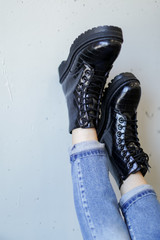 Model wearing Platform Crocodile Combat Boots